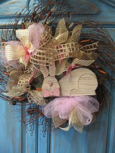 BUNNY CARROT WREATH Spring wreath with burlap by faucettandflame, $42.99