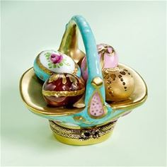 Limoges Imperial Turquoise Easter Eggs Basket The Cottage Shop