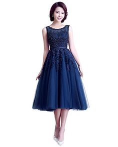 5918cba88af online shopping for Promstar Women s Elegant Appliqued A-Line Tea Length  Cocktail Casual Dresses from top store. See new offer for Promstar Women s  Elegant ...