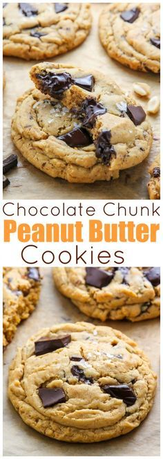 Ultra thick soft batch peanut butter cookies loaded with chocolate chunks! Perfe… Ultra thick soft batch peanut butter cookies loaded with chocolate chunks! Perfect with a cup of coffee or a cold glass of milk. Dessert Oreo, Cookie Desserts, Just Desserts, Cookie Recipes, Delicious Desserts, Dessert Recipes, Yummy Food, Milk Dessert, Appetizer Dessert