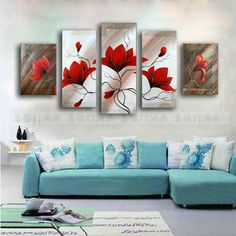 Modern Flowers Painting Set Entranceway Oil Painting Handmade Paintings Red Mural Sofa Background Wall Decorative Paint