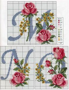Cross stitch rose alphabet <3