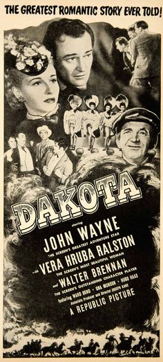 1946 Ad Movie Dakota 1945 John Wayne Western Film Vera Ralston Walter YMS2