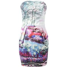 MARY KATRANTZOU printed strapless dress ($1,525) ❤ liked on Polyvore featuring dresses, short dresses, short puffy dresses, multi colored dress, colorful dresses and mary katrantzou