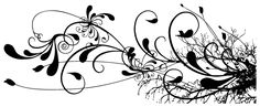 Swirl Floral Tattoo (Black and White)