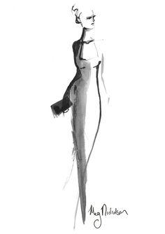 Ink fashion illustration by Meg Nicholson