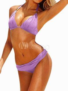 575481278a Sexy Lilac Lycra Spandex Womens Bikini Swimsuit - Milanoo.com Swimsuit  Cover Ups