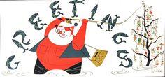 """""""T. Hee,"""" vintage Christmas card, date unknown #Frikrismas #OtrasDemencias"""