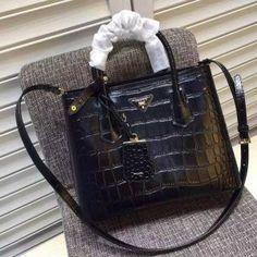 Spring 2016 Prada Double Bags Cheap Sale- Prada Double Tote Bag in Top Black Crocodile Embossed Leather