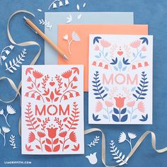 Mother Dearest The month to celebrate our mothers is quickly approaching. Show her how much you care by giving her a handmade sentiment. These printable and papercut Mother's Day Cards are a great canvas for your words of appreciation for the most important woman in your life – your mother. Download and print your card... Funny Mothers Day, Mothers Day Crafts, Happy Mothers Day, Paper Cutting, Happy Mother's Day Card, Mother's Day Greeting Cards, Cricut, Easy Paper Crafts, Mother's Day Diy