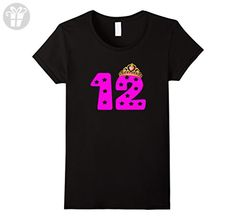 a6c7cce8ba928c Womens 12th Birthday Gift T-Shirt For 12 Year Old Girl Pink Tiara XL Black
