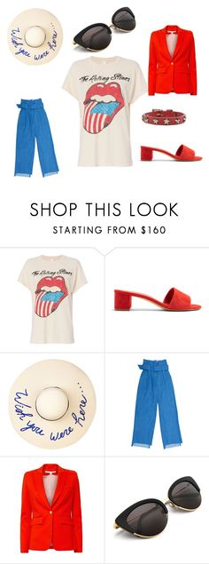 """Red, white, blue is in the sky"" by christina-nicole-pride ❤ liked on Polyvore featuring MadeWorn, Mansur Gavriel, Eugenia Kim, Veronica Beard and RED Valentino"