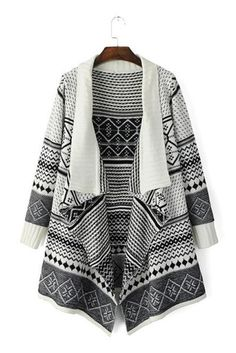 Black and White Tribal Print Waterfall Drape Front Cardigan Aztec Print Cardigan, Grey Knit Cardigan, Cardigan Sweaters For Women, Knit Jacket, Fringe Cardigan, White Sweaters, Fringe Shirt, Cardigan Shirt, Longline Cardigan