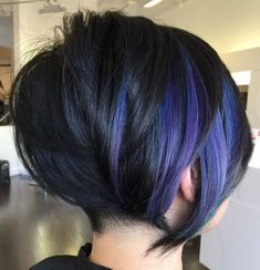 60 Gorgeous Long Pixie Hairstyles Black Bob With Purple Balayage Purple Balayage, Purple Highlights, Balayage Bob, Purple Streaks, Short Balayage, Balayage Color, Purple Ombre, Longer Pixie Haircut, Long Pixie Hairstyles
