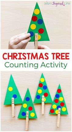 This Christmas tree counting activity is a fun way for preschoolers to learn number sense this holiday season! #christmas #christmasactivities #math #mathcenters