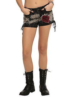 Royal Bones By Tripp Black Bleach Lace-Up Shorts,