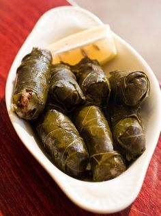 Stuffed Grape Leaves or Dolmathes with Ground Lamb, Rice & Dill