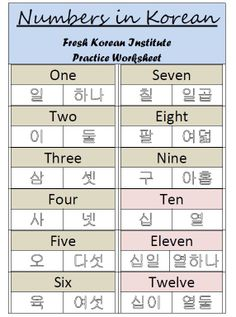 Numbers in Korean Practice Writing Worksheet 1 - sino chinese numbers and korean numbers