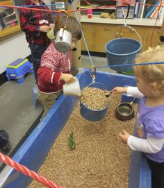 sand and water tables tall cardboard tubes and ropes