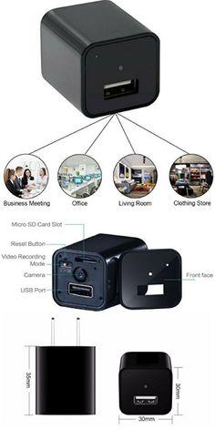 USB Camera Motion Detection Hidden Camera Charger KONO DIGITAL Spy Camera USB Hidden Camera Mini Spy Camera Hidden Cam Hidden Spy Cam Spy Camera Charger Nanny Cam Hidden Camera