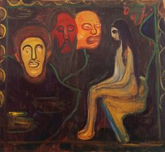 Edvard Munch (1863-1944), Seated Nude and Three Male Heads, 1895-98. oil on canvas, 90 x 100 cm