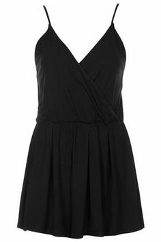 Black Wrap Jersey Playsuit by: Topshop
