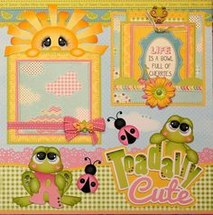 toadally cute-r - Frog Scrapbook Layout Page Baby Girl Scrapbook, Baby Scrapbook Pages, Kids Scrapbook, Scrapbook Sketches, Scrapbook Page Layouts, Scrapbook Paper Crafts, Scrapbook Cards, Scrapbooking Ideas, Birthday Scrapbook
