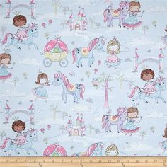 Timeless Treasures Glitter Princess/Unicorns Blue from @fabricdotcom  Designed for Timeless Treasures, this cotton print fabric is perfect for quilting, apparel, and home decor accents. Colors include shades of pink, blue, brown, yellow, and white with metallic silver glitter accents.