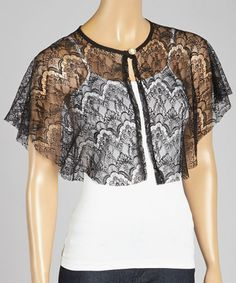 Look what I found on #zulily! Black Chantilly Lace Capelet by Fleet Collection #zulilyfinds