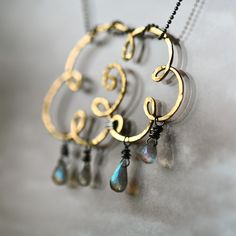 Gold Cloud - Brass Wire and Labradorite Teardrops Pendant.