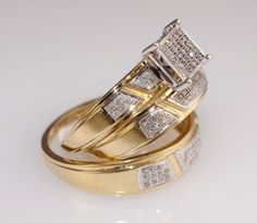Gents  & Ladies Yellow Gold Over Trio Set Wedding & Engagement Ring Bridal Set #br925silverczjewelry