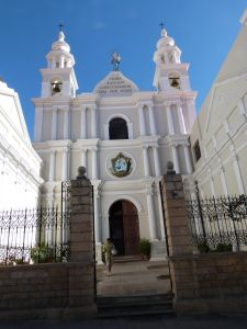 One of the many beautiful white churches in Sucre, Bolivia