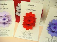 zaproszenie na ślub kwiatem z papieru