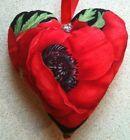 Poppy Fabric Heart Lavender Bag- Handmade