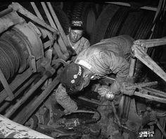 Mechanics at Charles Street shops, 1958