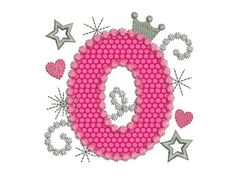 Happy Bithday Number 0 Pink Glamour for Girl by EmbroideryLand