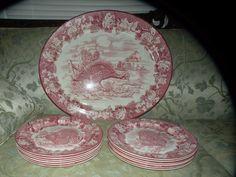 ANTIQUE ENOCH WOODS PORCELAIN BURSLEM turkey platter 12 plates set transferware