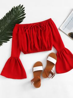 croptop red Shop Off Shoulder Fluted Sleeve Drawstring Crop Top online. SheIn offers Off Shoulder Fluted Sleeve Drawstring Crop Top amp; more to fit your fashionable needs. Crop Top Outfits, Trendy Outfits, Summer Outfits, Girl Outfits, Cute Outfits, Fashion Outfits, Womens Fashion, Fast Fashion, Style Fashion
