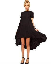 Short Sleeved High Low O-Neck Cocktail Dresses For Women