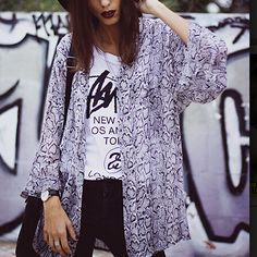 Grey Long Sleeve Snakeskin Print Kimono