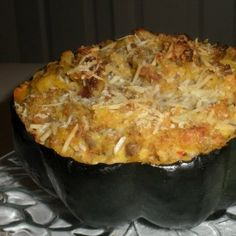 Hot sausage stuffed acorn squash - yeah that's right - sausage goes with anything!