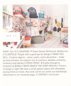 Hut 13 // Frankie Magazine, Price Point, Cool Eyes, Melbourne, Objects, Artisan, Basket, Kids Rugs, Ceramics