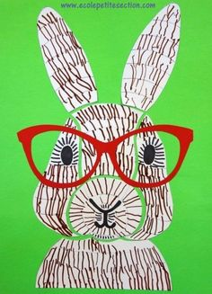 Bunny with glasses pop art Classroom Art Projects, Cool Art Projects, Art Classroom, Easter Arts And Crafts, Spring Crafts, Easter Activities, Art Activities, Lapin Art, Bunny Drawing