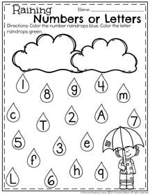 Raining Numbers and Letters Letter Recognition Worksheets for Preschool #preschool #preschoolworksheets #springworksheets #letterrecognition