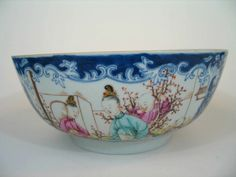 A Big Antique Chinese Export Porcelain Famille Rose Punch Bowl, Qianlong Period