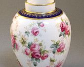 Antique Early 20thc Porcelain Vase Copeland Spode's China Hand painted Gilded Roses