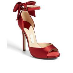 kate spade new york 'chrissie' sandal Deep Red Satin 7 M by None, via Polyvore