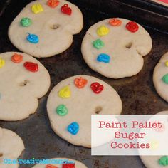 For Kathy, for the little  Picasso you have....Paint palette sugar cookies (these would be such a nice treat after a Storybook Artist lesson!)