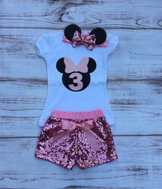 Pink Mouse birthday outfit Onesie Minnie headband sequin shorts toddler girls birthday set Pink black Minnie mouse cake smash