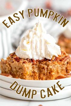Easy and delicious this Easy Pumpkin Dump Cake is a fun, tasty fall dessert that whips up with no effort and will become a family favorite.  This Easy Pumpkin Dump Cake takes a classic spin on fun flavors. This isn't your normal pumpkin cake, everything is mixed and dumped and sprinkled together and we aren't complaining about that.
